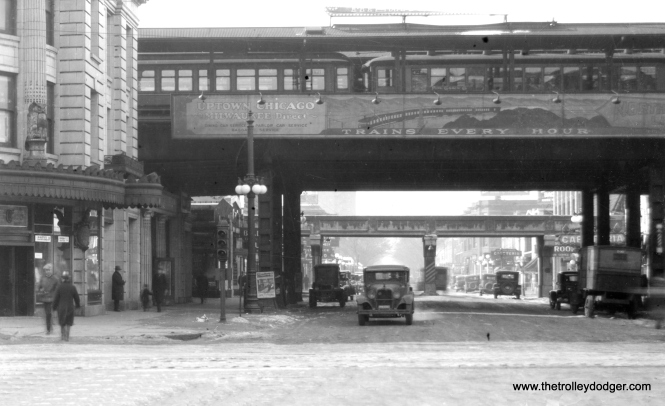 Wilson Avenue looking west from Broadway on January 21, 1929. The track in the background was used for freight. (George Trapp Collection)