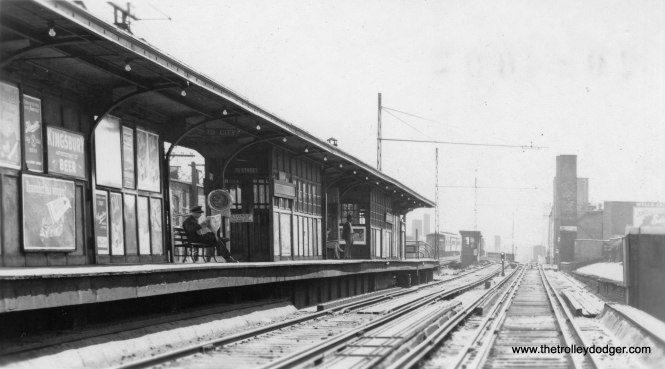 "A CRT station on the North Side. Not sure of the exact location. I'm wondering of it could be Lawrence? (Allen T. Zagel Photo, George Trapp Collection) Miles Beitler writes, ""this photo does appear to be Lawrence Ave station looking south. The ramp down to Buena yard appears on the far right, as well as the merging of four tracks into two on the approach to Wilson station."""