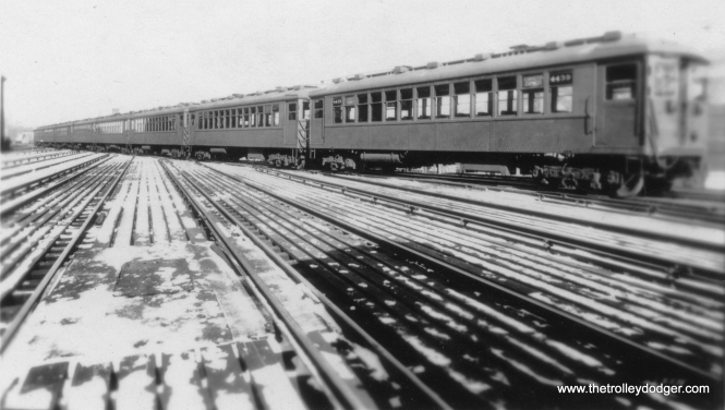 Eight cars of 4000s at Wilson. The head car (4439) is signed as an Evanston Express, but in actual practice, platform length limited those trains to six cars. (Allen T. Zagel Photo)