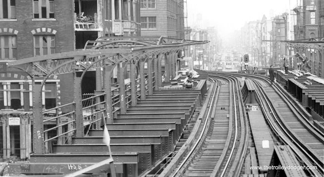 The Merchandise Mart station under construction on October 22, 1930. It opened on December 5th the same year. We are looking north. (George Trapp Collection)