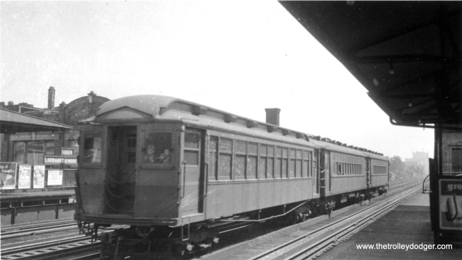 """The old """"L"""" station at Larrabee, Ogden and North Avenue, which closed in 1949 as part of the CTA's revision of North-South service. This was a """"local"""" station, and did not fit in with the changeover to A/B """"skip stop"""" service. (Allen T. Zagel Photo, George Trapp Collection)"""