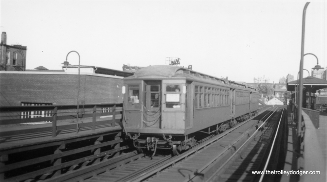 "A three-car ""L"" train at Sedgwick. (George Trapp Collection)"
