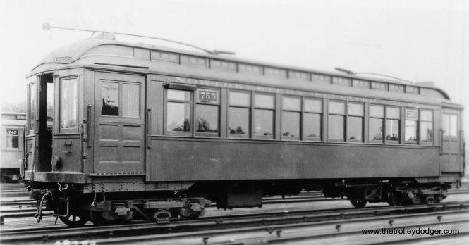 "Northwestern elevated Railroad car 755. Don's Rail Photos: ""1755 was built by Jewett Car in 1903 as NWERy 755. It was renumbered 1755 in 1913 and became CRT 1755 in 1923. It was rebuilt as S-330 in June 1956."" (George Trapp Collection)"