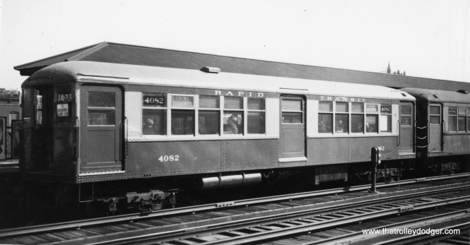 "CRT 4082 was part of the earlier batch of 4000s, built in 1913 by Cincinnati Car Company. They were originally intended to have a center door, but this was apparently considered unnecessary by the time they were put into service. The center doors on these cars were covered up and seating was increased instead. Fans called them the ""baldys."" (George Trapp Collection)"