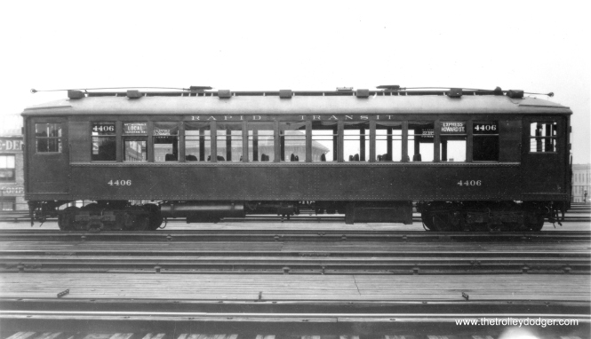 A nice side view of CRT 4406. Most of the signs identify it as a Howard Street Express, although one has it as a 61st Street Local. (Allen T. Zagel Photo, George Trapp Collection)