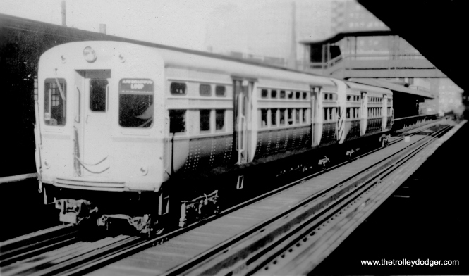 "This picture is a bit washed out, but shows a two-car train of CTA ""flat door"" 6000s in Ravenswood service. (Allen T. Zagel Photo, George Trapp Collection)"