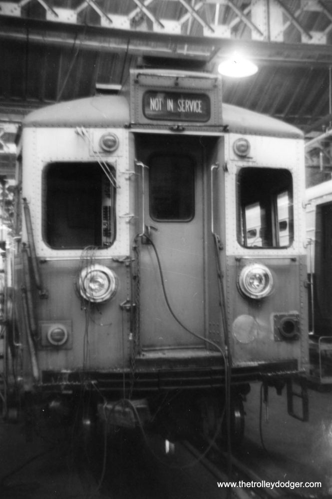 CTA 5004 being rebuilt at Skokie Shops for Swift service in February 1966. (George Trapp Photo)