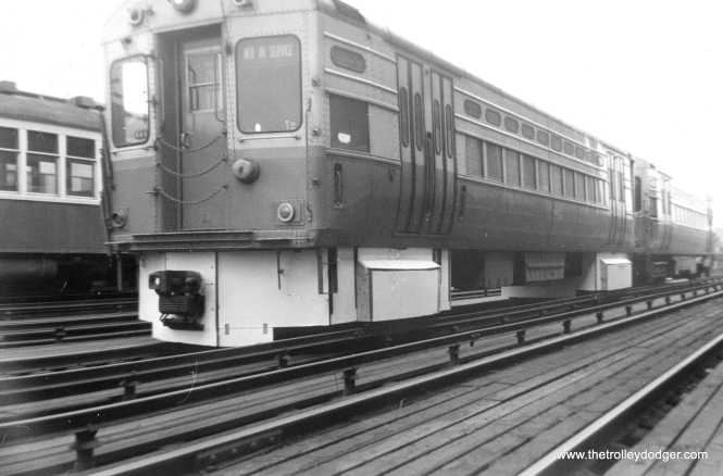 Experimental running gear under CTA single car unit 27, shown here at Wilson on March 27, 1961. Some improvements tried out on on some of the 6000s were later used on the 2000-series in 1964. (George Trapp Photo)