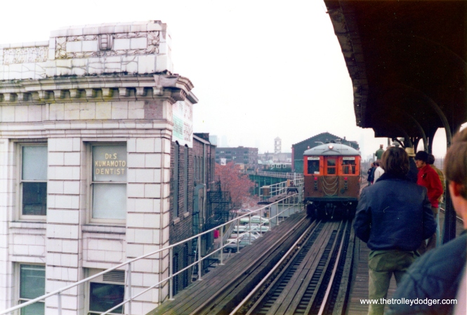 The remaining pair of 4000s kept by CTA after the rest were taken out of service in 1973, shown here at Wilson on a fantrip (probably in the late 1970s or early 1980s). We are looking south. (George Trapp Photo)