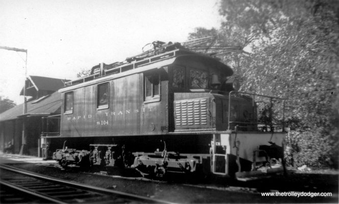 "Don's Rail Photos says, ""S-104 was built by Baldwin-Westinghouse in August 1920, #53555, as Northwestern Elevated RR S-104. In 1923 it became CRT S-104 and CTA S-104 in 1948. In 1978 it was sold to Toledo Edison Co as 4. It was sold to Rail Foundation in 1996."" (Allen T. Zagel Photo, George Trapp Collection)"