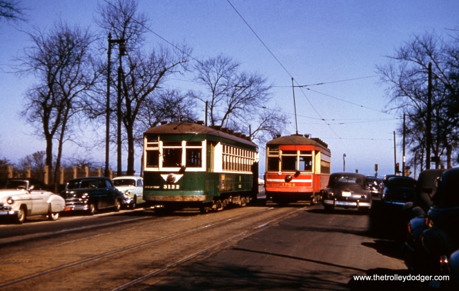 CTA 3122 and 1764 at the east end of the Chicago Avenue line on March 29, 1952. A few of the older streetcars were painted green, but I don't know of anyone who preferred this to CSL red.
