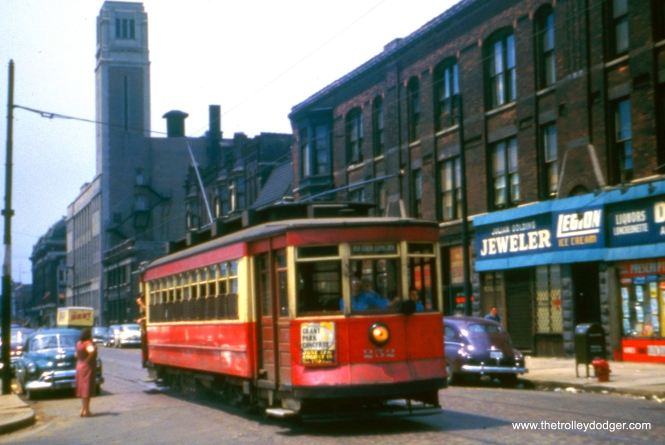 "CTA Pullman 252 in the early 1950s at an unknown location. One of regular readers thinks this is ""Van Buren, one block east of Ashland, with the car heading east."" If so, the date can't be later than 1951. Streetcar service on Van Buren ended then to allow for construction of the temporary Garfield Park ""L"" right-of-way at ground level, which opened in September 1953."