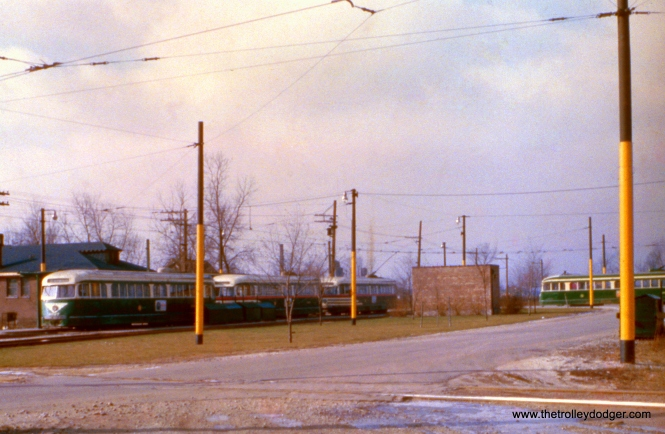 CTA 4011 and other PCCs at the west end of the 63rd Street line in December 1951.