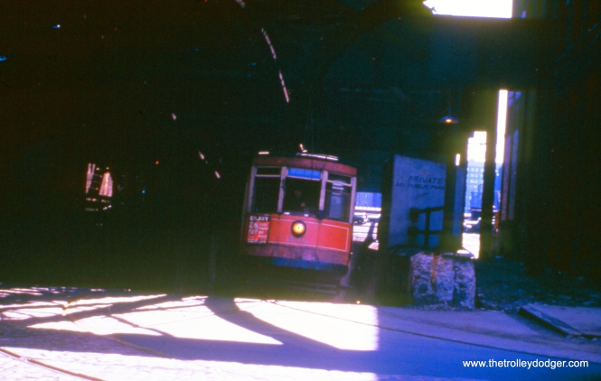 CTA 370 in the old Van Buren streetcar tunnel that ran under the Chicago River. This picture is dated October 1953.