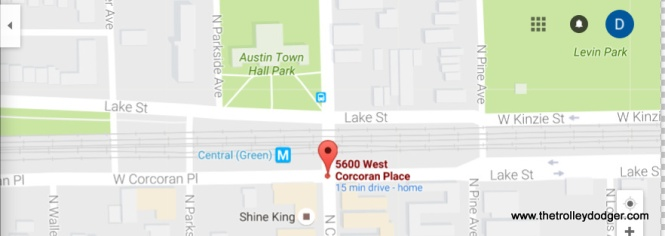In this current map, it appears that Lake Street crosses over from south of the UP embankment to the north at Pine, where the CSL/CTA route 16 streetcar did. West of Pine, the street on the south side of the embankment is called Corcoran Place. (West of Austin, in suburban Oak Park, this is South Boulevard.) However, there is some question as to when the name was changed to Corcoran Place (see the next map).