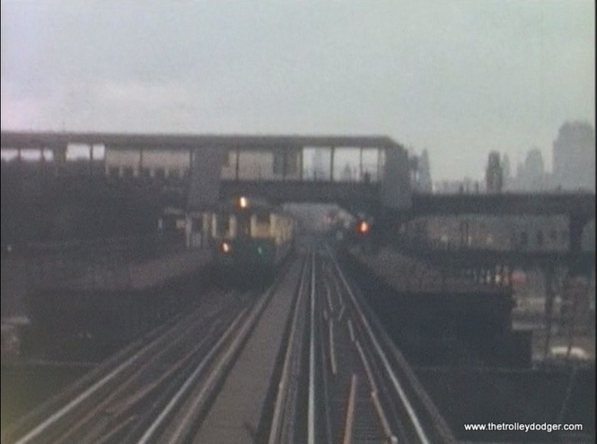 In 1963, the old Lake Street Transfer station had not yet been torn down. It was removed the following year. Logan Square and Humboldt Park trains stopped running on the other level here in 1951.