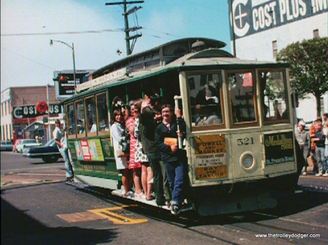 A San Francisco cable car in the late 1960s.