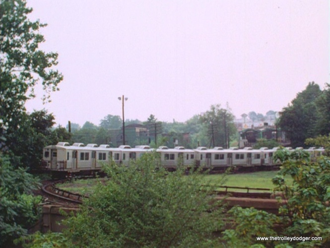 "A train of Philadelphia ""Almond Joys"" at 69th Street Terminal."