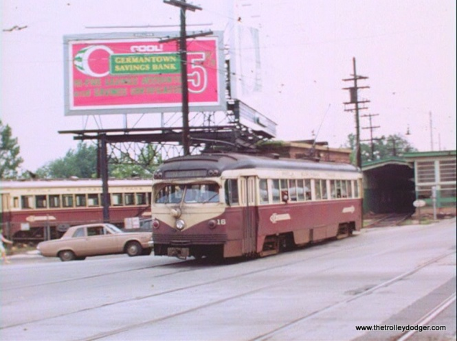 St. Louis-built double-end car 16 (not an official PCC, although it certainly looks like one) on the Red Arrow.