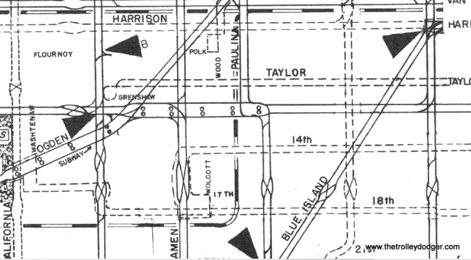 This is an enlargement from the 1948 CTA supervisor's track map, which can be found in our E-book Chicago's PCC Streetcars: The Rest of the Story, available through our Online Store. Roosevelt is the street between Taylor and 14th.