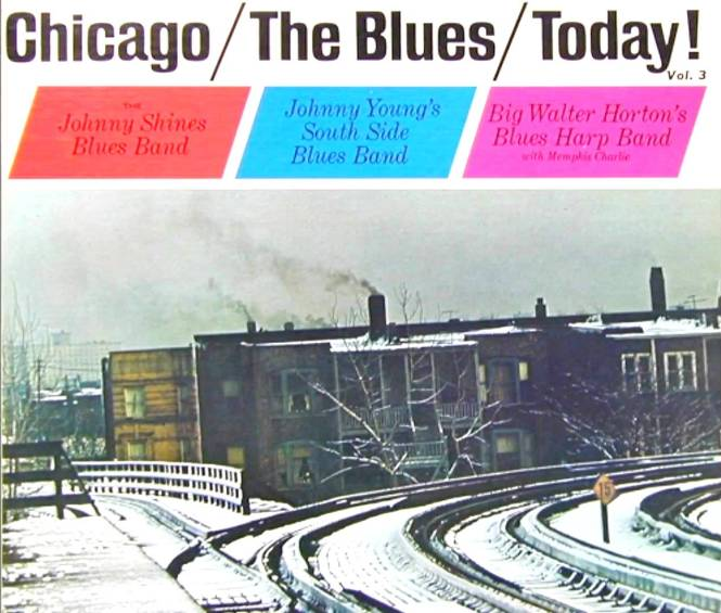 "David Vartanoff noticed that this Chicago Blues LP features a cover shot of the ""L"", taken where Kenwood branched off from the main line."