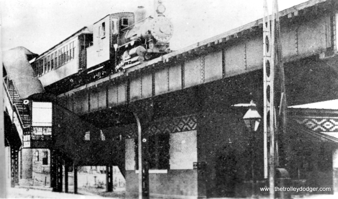 "It is not widely known, but during its first few years, the South side ""L"" was powered by steam. This picture was taken at Indiana Avenue in the 1890s. (George Trapp Collection)"