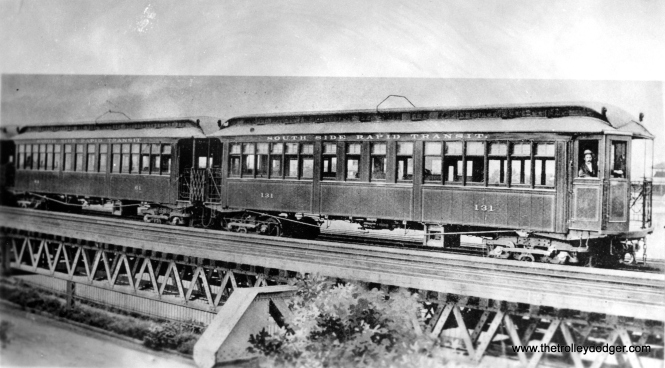 This old photo shows South Side Rapid Transit car 131 at 63rd Street in 1899. (George Trapp Collection)