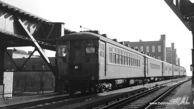 CRT 4265 heads up a northbound train going into the State Street subway not far south of Roosevelt Road. It is signed as going to both Howard and Skokie. This picture must have been taken between 1943 and 1948. (Joe L. Diaz Photo, George Trapp Collection)