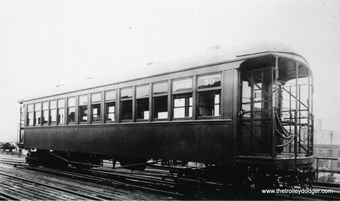 "CRT gate car 50. Don's Rail Photos says, ""50 was built by Jackson & Sharpe in 1892 as SSRT 50. It became CERy 50 in 1913 and CRT 50 in 1923. It was rebuilt as S2 in 1939."" (George Trapp Collection)"
