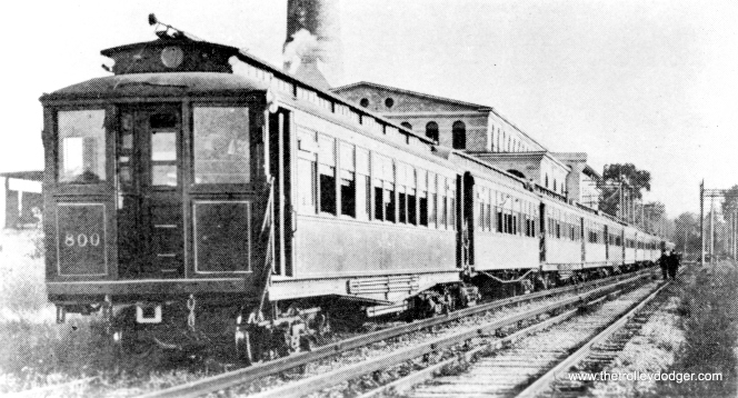 Metropolitan Elevated Railway car 800 heads up a train in the early 1900s at the old Glenwood amusement park in Batavia on the Aurora, Elgin & Chicago (later the CA&E). That's the branch's large powerhouse in the background. Circa 1960, this was considered (but rejected) as the new home for the fledgling Illinois Electric Railway Museum. (George Trapp Collection)