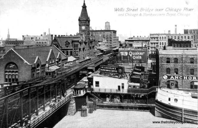 An old postcard view of the Wells Street bridge over the Chicago River. I assume we are looking north. The clock tower is part of the old Chicago & North Western station. It would be nice to see this one in color. (George Trapp Collection)