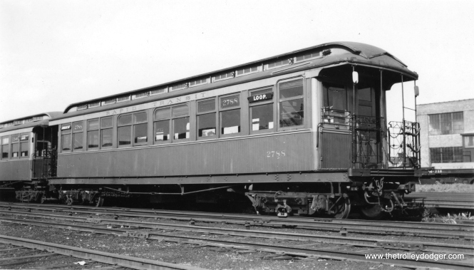 "George Trapp: ""Car 2788 is probably at 54th Avenue yard on Douglas Park branch as that is what rear side sign says."" (Joe L. Diaz Photo, George Trapp Collection)"
