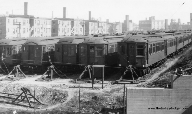 "The north end of Howard Yard in CRT days. George Trapp: ""Note cars 1776 and 1779, which head up the two trains at right. Built by Pullman in 1909, these were the last wooden cars built new in Chicago."" (George Trapp Collection)"