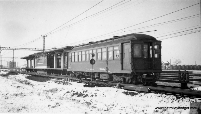 "CRT 1804, shown here at Crawford, has just changed over from overhead wire to third rail on its inbound journey. George Trapp: ""This car, built by A. C. F., was originally a trailer as were all the cars from 1789-1815. These cars are quite similar to the 1769-1788 built by Pullman in 1909."" (George Trapp Collection)"