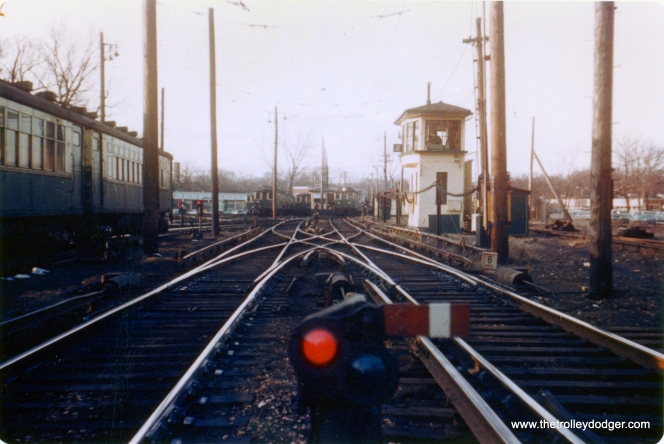 "This look like the Linden Yard in Wilmette to me. The date is 1957-58. George Trapp: ""Linden Yard but looking North toward Linden Station."" (Allen T. Zagel Photo, George Trapp Collection) This and the other photos taken at the same time are ""Kodachrome prints"" (see the next picture)."