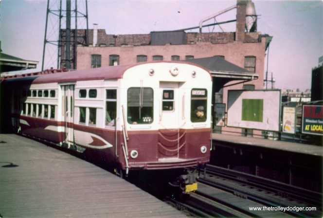 CTA hi-speed 6129 at Chicago Avenue on the Ravenswood (today's Brown Line) in 1961. (Pete Busack Photo, George Trapp Collection)