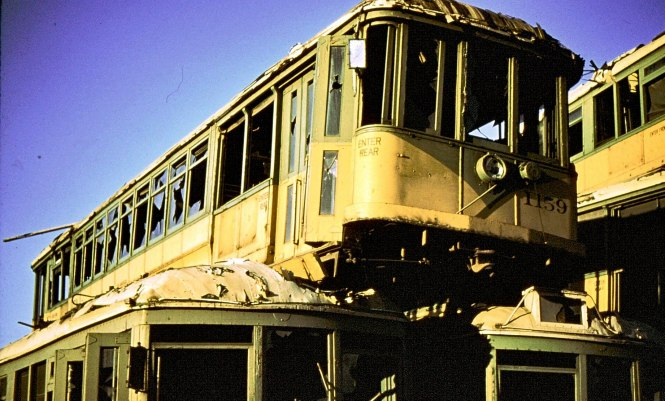 Los Angeles Transit Lines (ex-Los Angeles Railway) car no. 1159 sits atop other units at the Terminal Island scrapyard. The image is dated November 2, 1958. (L. Swanson Photo, Andy Goddard Collection)