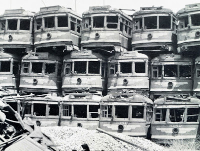 "Pacific Electric ""Hollywood Cars"" stacked for scrap on Terminal Island, near Long Beach."