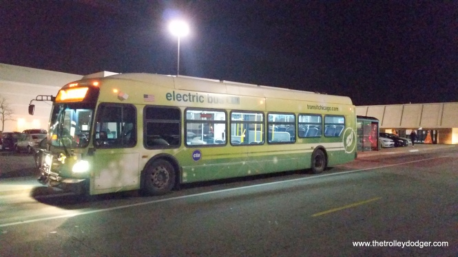CTA electric bus 700 at the west end of route 21 (Cermak), which is the North Riverside Mall, on November 29, 2016.