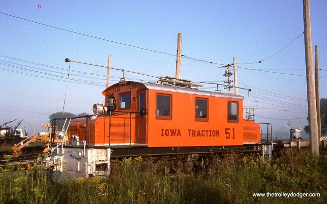 5. Iowa Traction # 51 in the Emery IA yard. #51 was built by Baldwin-Westinghouse in 1921 for the Northeastern Oklahoma Railway. 8/22/06.