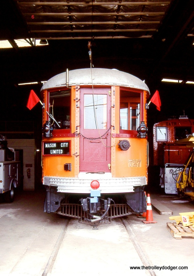 6 & 7. Iowa Traction interurban coach # 727 (formerly Chicago North shore & Milwaukee # 102) is just inside the Emery Car barn on August 25, 2006.