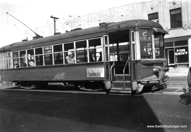 "Pictures of the Grand Rapids (Michigan) streetcar system are rare, as it quit in 1935. Creating a roster would be difficult, as the cars had names rather than numbers. Here, we see the ""F. W. Wurtzburg,"" built by St. Louis Car Company in 1926. This type of lightweight city car helped the Grand Rapids Railroad win the prestigious Coffin Medal in 1926. (James B. M. Johnson Photo)"