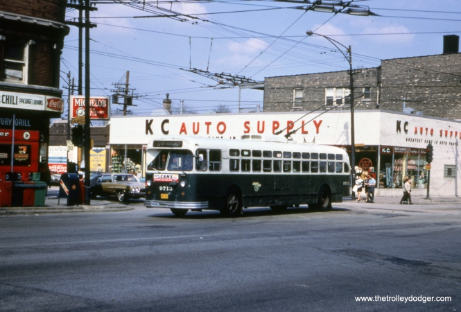 CTA trolley bus 9713 is shown heading westbound on North Avenue at Cicero on April 26, 1970. The last Chicago trolley bus ran in 1973.