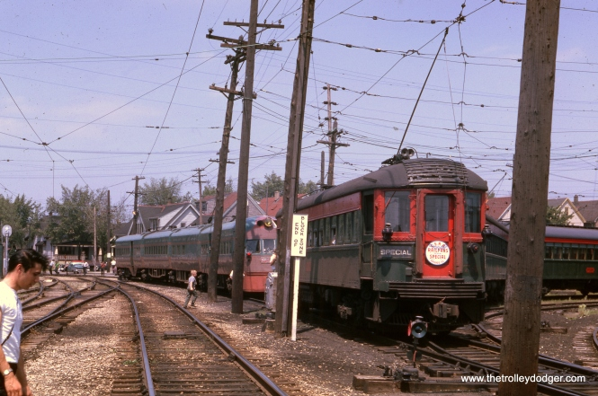 "This June 1962 North Shore Line photo looks like it was taken at about the same time as one in our previous post More Color Restorations (August 9, 2016). As you can see from the sign on car 744, the occasion was a Central Electric Railfans' Association fantrip. This may be the excursion on June 22, 1962, which was billed as a farewell trip. As it turned out, a few additional fantrips were held before the interurban was abandoned on January 21, 1963. Don's Rail Photos says, ""744 was built by Pullman in 1928. It was modernized in 1940."" This car is on the wye at the Harrison Street Shops in Milwaukee."