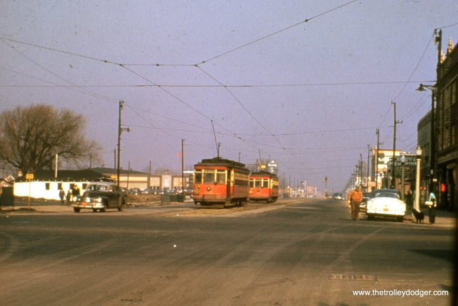 CTA red cars 612 and 407 at 95th and Ashland in December 1951.