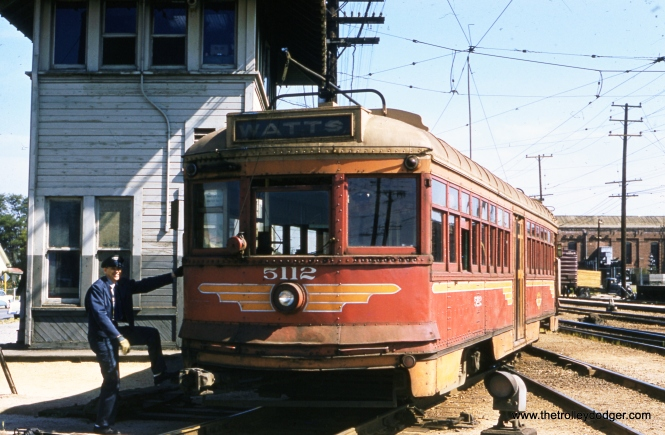 "Pacific Electric ""Hollywood"" car 5112 in Watts local service on April 9, 1958. By then, the service was being operated by the Los Angeles Metropolitan Transit Authority. Don's Rail Photos says, ""637 was built by St Louis Car Co in 1922. It was rebuilt in 1939 and rebuilt in 1950 as 5112. It became LAMTA 1801 in 1958. It was retired and restored as 637 at Orange Empire Railway Museum in March 1960."""