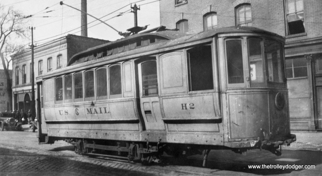 CSL single-truck mail car H2, apparently still operational, is shown years after streetcar RPO (Railway Post Office) service ended in 1915. It was scrapped on October 2, 1942. From the looks of the autos in the background, this picture may date to the 1920s.