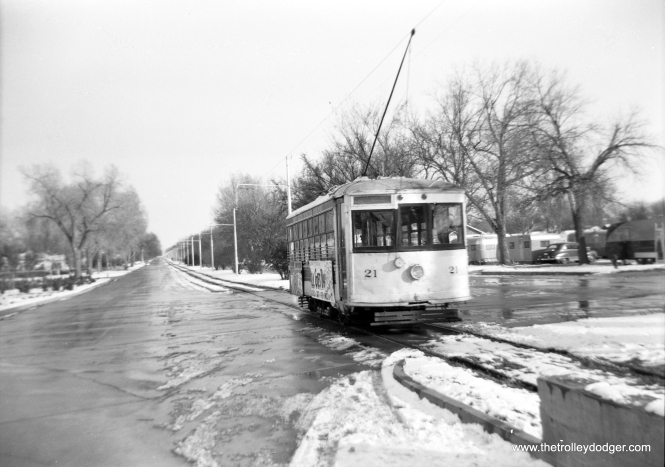 "Fort Collins Municipal Railway ""Birney"" car 21, at the intersection of Johnson and Mountain Avenues. (Ward Photo)"