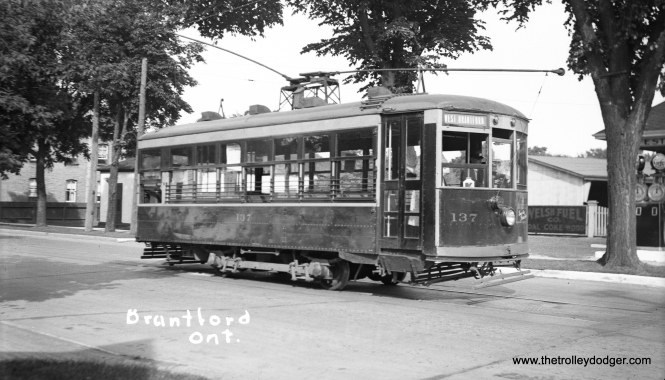 Many other cities had Birneys, of course. Here, we see Brantford (Ontario) Municipal Railway car 137 on July 1, 1935. This was ex-Lock Haven, Pa. Electric Railway car #2. (George Slyford Photo)