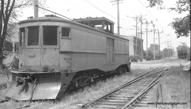 In this mid-1950s view, Village of East Troy Railway freight motor M-15 is shown here in East Troy, Wisconsin, near the power station which now serves as the waiting room for the East Troy Electric Railroad museum operation. It was built by TMER&L in 1920 and is now preserved at the Illinois Railway Museum. (Walter Broschart Photo)